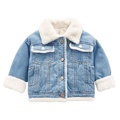 Bebé Niña Lana Chaqueta de Mezclilla Abrigo Invierno Cálido Grueso Niños Azul Botón a Presión Ropa de Abrigo 1-2 Años