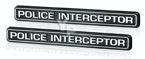 Black & Chrome Police Interceptor Emblems - Pair
