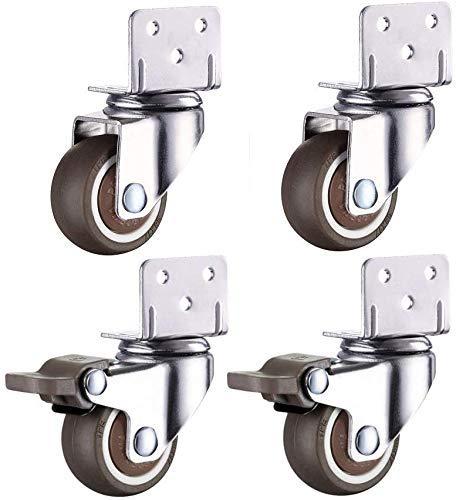 Ruedas 4 ruedas para muebles, soporte en L, ruedas de goma silenciosas con freno, ruedas giratorias universales de repuesto para cuna, 1 pulgada, 1,5 pulgadas, 2 pulgadas, 160 kg para cuna, soporte d