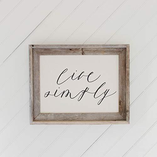 Cartel de bienvenida para colgar en madera de granero – Live Simply, decoración del hogar, regalo, regalo de inauguración de la casa, marco gris, rústico, otoño y otoño decoración de pared de granja