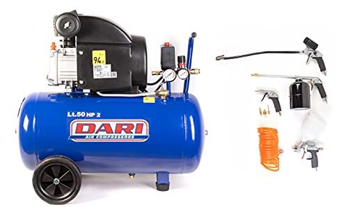 Comportador de aire marca Dari 50 litros 8 bar 2 HP modelo Smart 50/210 col. Kit de 8 piezas lubricado con aceite – Compresores