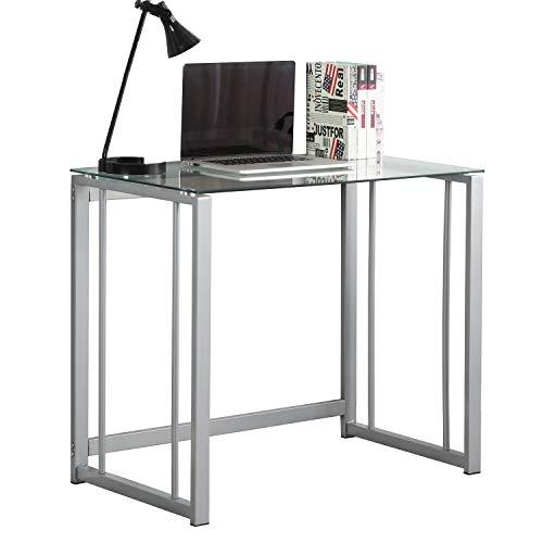DlandHome Mesa plegable de cristal del escritorio de los 90cm, tabla de la oficina del ordenador