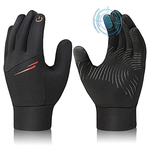 Touchscreen Handschuhe Kinder Fahrradhandschuhe Thermo - Outdoor Sport Warme Laufhandschuhe mit Winddicht für Ski Fahrrad Lauf WinterHandschuhe Jungen Mädchen Schwarz 8-10 Jahre