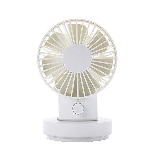 Lianguk - Mini ventilatore USB modalità 2velocità, doppie lame, mini ventilatore da scrivania, ventilatore da tavolo oscillante ventilatore USB piccolo ventilatore personale bianco