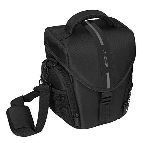 PEDEA DSLR-Kameratasche Essex Fototasche für Spiegelreflexkameras mit wasserdichtem Regenschutz, Tragegurt und Zubehörfächern, Gr. L schwarz/grau