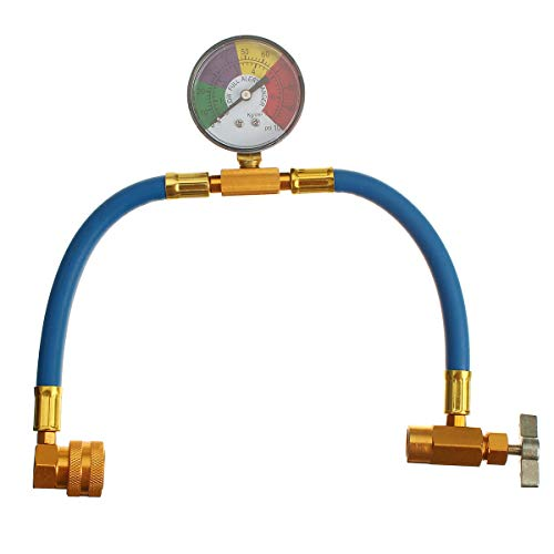 ZOYOSI 100psi Air Conditioning Recharge Hose with Pressure Gauge AC R134A 1/2 Inch Refrigerant Recharge Measur Hose Gauge
