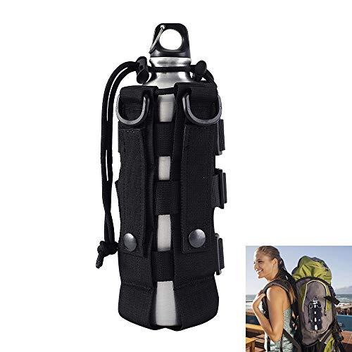 1 pochette tactique militaire MOLLE pour bouteille d'eau - Étanche - Réglable - Avec cordon de serrage - Pour diverses activités de plein air - Noir