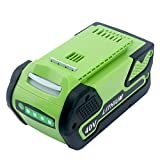 Elefly 6000mAh 40V Li-Ion Battery for GreenWorks 40V Battery 29472 29462, Fit GreenWorks 40V G-MAX Power Tools 29252 20202 22262 25312 25322 20642 22272 27062 21242