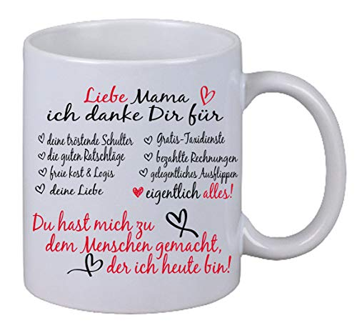 Kaffee Tasse Liebe Mama ich danke dir für alles Weihnachten Geburtstag Geschenk Muttertag