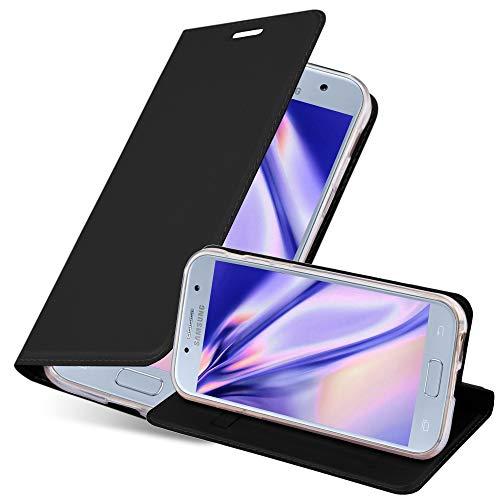 Cadorabo Hülle für Samsung Galaxy A5 2017 (7) - Hülle in SCHWARZ – Handyhülle mit Standfunktion & Kartenfach im Metallic Erscheinungsbild - Hülle Cover Schutzhülle Etui Tasche Book Klapp Style
