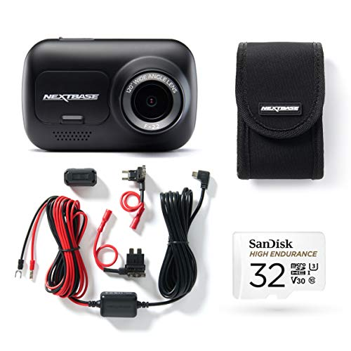 Nextbase 122 Full 1080p HD In Car Dash Cam Camera Bundle Kit with Mount, Hardwire Kit, 32GB SD Card and case included