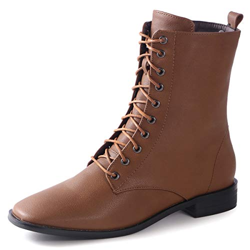 Womens Combat Boots Lace up Mid Calf Flat Ankle Booties for Winter