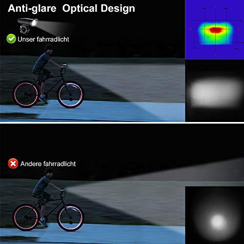 Antimi LED Fahrradlicht Set【Neueste Modell】, StVZO Zugelassen USB Wiederaufladbar Fahrradlichter Fahrradlampe Set, IPX5 Wasserdicht Frontlicht & Rücklicht Lampenset mit Samsung 2600mAh Li-ion Akku - 5