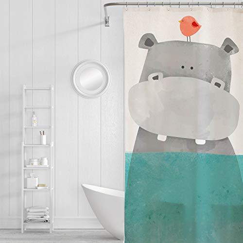 AdaCrazy Nautische Wasser Ozean niedliche Nilpferd Vogel Duschvorhang für Kinder Baby Badezimmer Dekor wasserdichtes Gewebe 71 x 71 cm Vorhang für Badezimmerzubehör Petrol/grau