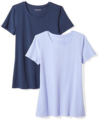 Amazon Essentials Women's 2-Pack Classic-Fit Short-Sleeve Crewneck T-Shirt, Purple/Navy, XX-Large