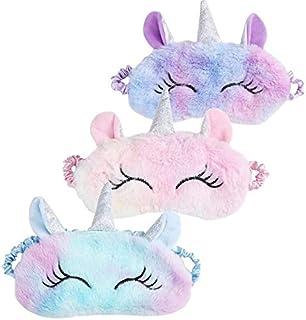 WENTS Unicornio Máscara para Dormir 3 Piezas Unicornio Máscara de Sueño Unicornio Antifaz para Dormir Máscara de Ojos Vend...