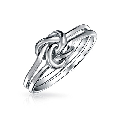 Simple Double Band Love Unity Irish Celtic Knot Infinity Forever Friendship Ring Band For Teen 925 Sterling Silver 1MM