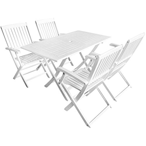 Tidyard Garten-Essgruppe 5-TLG. Akazienholz Massiv Weiß Klappar Garden Dining Set with 4 Folding Chairs Weatherproof Acacia Wood Solid Outdoor Garden Furniture Garden Table White