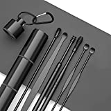 Ear wax Removal kit, Ear Wax Removal 6-in-1 Ear Pick Tools Reusable Ear Cleaner, Stainless Steel Ear Pick Set with Keychain Box Utility to Use (Black)