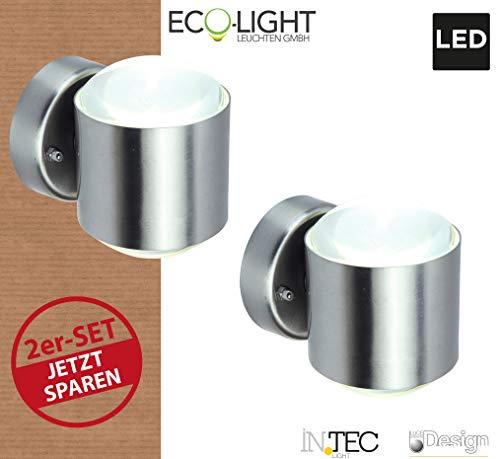 LUTEC Aussenleuchte Crystal, LED 10 Watt Lichtleistung, 2es Set zum Vorteilspreis, Edelstahl, W