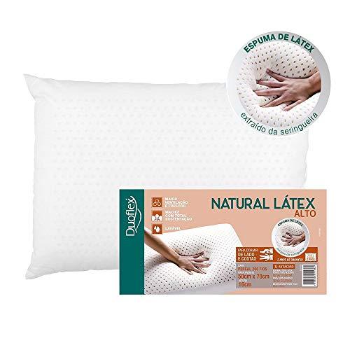 Travesseiro Alto Duoflex Branco Para Fronha 50cmx70cm Espuma 100% Látex Natural