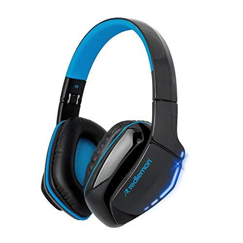 Redlemon Audífonos Bluetooth Gamer de Diadema Over-Ear Plegables con Luz LED, Sonido Estéreo HD, Manos Libres, Aislamiento de Ruido Exterior, Batería de Larga Duración,...