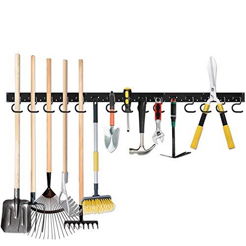 TZUTOGETHER colgador de herramientas de jardin,soporte escobas pared,organizador de estantes para estantes de herramientas,portaherramientas de pared con fuerte capacidad de carga(48/64 pulgadas)