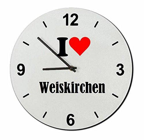 Druckerlebnis24 Glasuhr I Love Weiskirchen eine tolle Geschenkidee die von Herzen kommt| Wanduhr| Geschenktipp: Weihnachten Jahrestag Geburtstag Lieblingsmensch