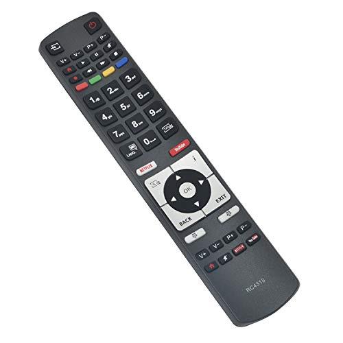 ALLIMITY Mando a Distancia RC4318 RC 4318 de Repuesto para Telefunken 4K TV con Netflix Youtube 32DTH531 40DTF531 49DTU652 55DTU652 D32H287M4CWI D32H289N4CWI D40U297M4CW D40U298N4CWH D43U297N4CWH