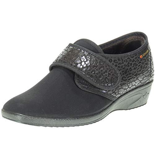 ALBEROLA S11851 Zapatilla Cerrada Casual Licra Calle Velcro Mujer Cuña 3.5Cm Piso Goma Antideslizante Negro Talla 40 ✅