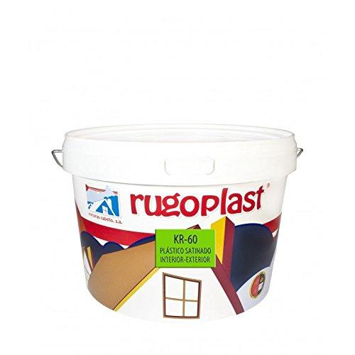 Pintura plástica blanca satinada interior/exterior ideal para decorar tu casa con un poco de brillo (salon, baño, dormitorios, cocina.) KR-60 Blanco (6 L) Envío GRATIS 24 h.
