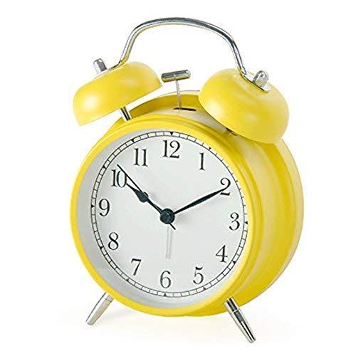 Shozafia 3' 4' Classical Retro Twin Bell Alarm Clocks Mute Silent Quartz Movement Non Ticking Sweep...