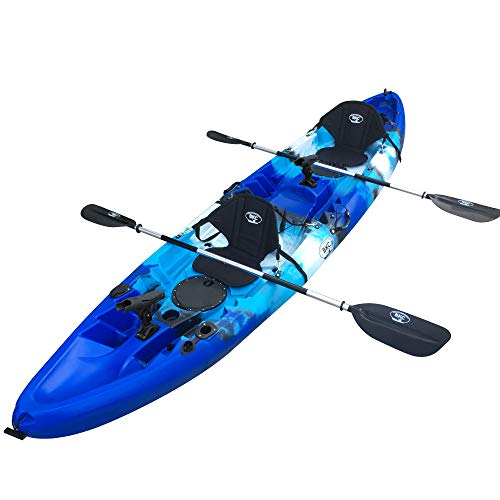 BKC TK219K 12' 6' Tandem 2 or 3 Person SIt On Top Kayak w/Soft Padded Seats, 2 Paddles and 6 Fishing Rod Holders Included - 2-3 Person Fishing Kayak