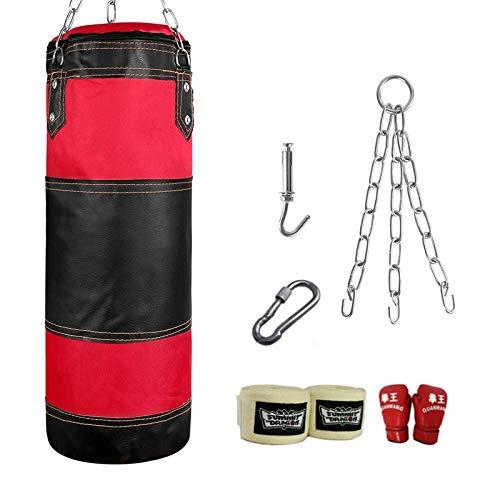 HDGAP Saco De Boxeo Saco Pesado, Saco De Boxeo, Sin Relleno Muay Thai MMA Boxing Training Bag Fitness Workout Kick Boxing Bag Set con Cadena para Colgar Y Gancho para Niños Y Jóvenes(Size:100cm)