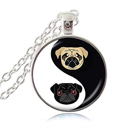Yin Yang Pug Collar Negro Y Tan Bulldog Colgante Joyas para Perros Regalos para Amantes De Pug...