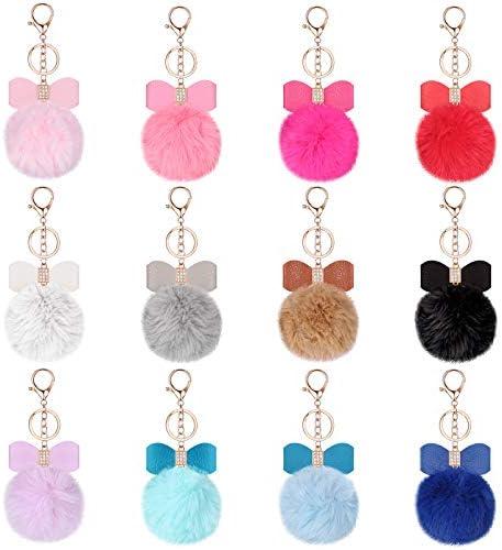 12 Pieces Bow Rhinestone Pom Pom Keychain Fluffy Faux Fur Pompoms Keyring for Girls Women Bags product image