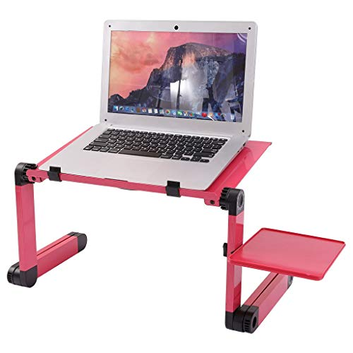 WHKL Laptop Stand, Adjustable Laptop Table for Bed Portable Lap Desk Foldable Laptop Workstation Notebook Riser with Mouse Pad Side Ergonomic Computer Reading Holder Bed Tray Standing Sofa Desk (Red)