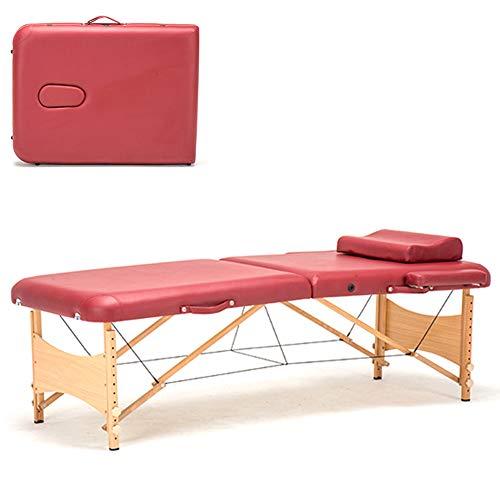 BAIVIN Lettino per massaggi, Custodia pieghevole portatile regolabile in Altezza in Altezza 2, adatta per la famiglia, salone di bellezza, 73''x27,5 '',Red