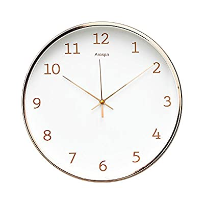 "Luxury Modern 12"" Silent Non-Ticking Wall Clock with Rose Gold Frame"