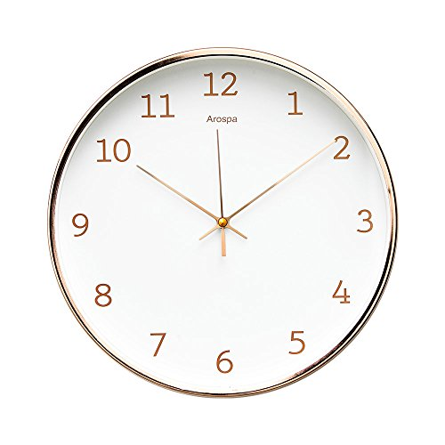 """Arospa Luxury Modern 12"""" Silent Non-Ticking Wall Clock with Rose..."""