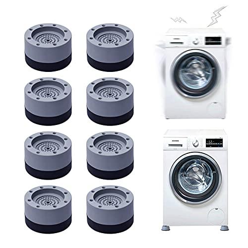 MHwan Amortiguador de Vibraciones para Lavadora y Secadora, Almohadilla de Goma Secadora, Pies de lavadora antideslizantes con cancelación de ruido para secadora, lavadora, lavavajillas, 8 piezas