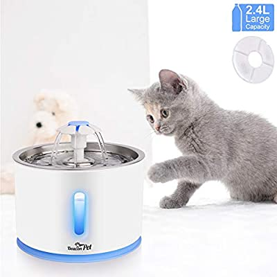Beacon Pet Cat Water Fountain Stainless Steel, LED 81oz/2.4L Automatic Pet Fountain Dog Water Dispenser with 1 Replacement Filters for Cats Dogs Birds