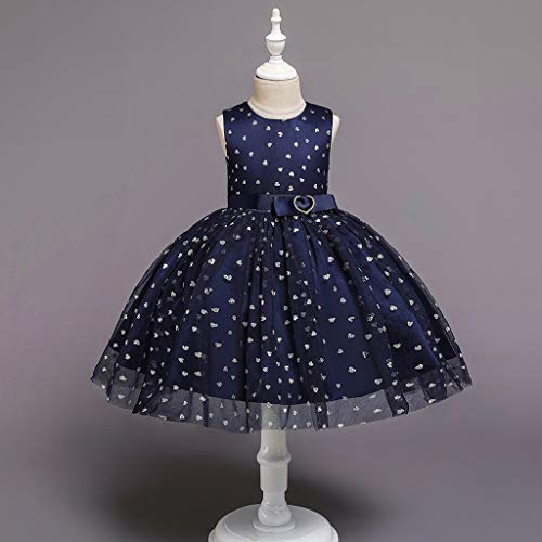 Janly Clearance - Vestido de niña para niñas de 0 a 10 años, para niños de 2 a 3 años (azul marino)