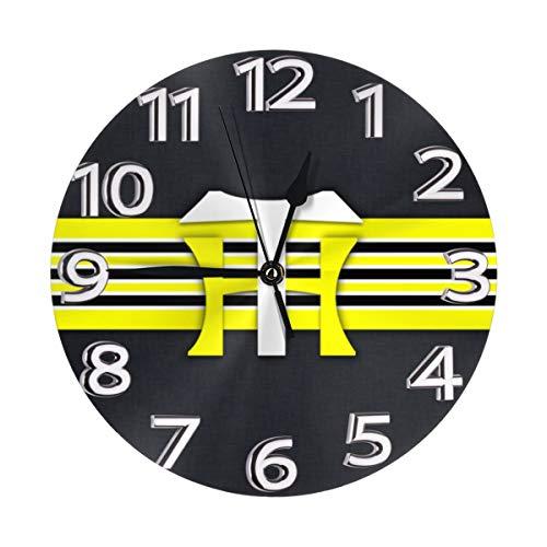 フレームなしの円形の壁時計阪神タイガースミュート掛け時計屋内壁の装飾デスクトップジュエリークリエイティブクロック直径25cm
