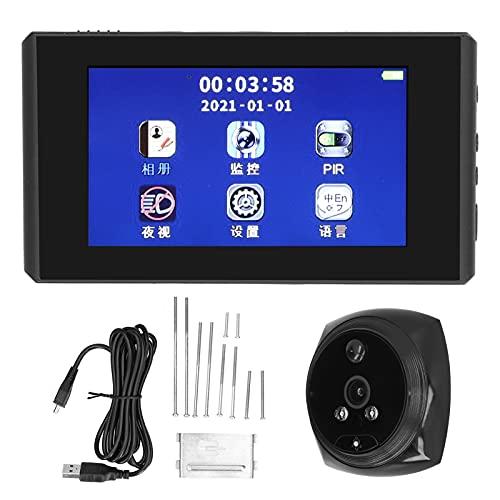 Visor de puerta digital, timbre de puerta con video gran angular 1080P de 145 grados, visión nocturna, para uso en casa, apartamento