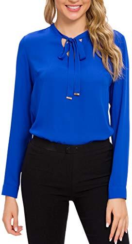 ACONIYA Womens Bow Tie Neck Long/Short Sleeve Blouse Office Work Chiffon Elegant Casual Shirt Tops (M, Royal Blue-LS)