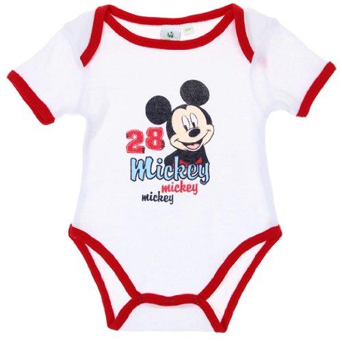 Body bébé garçon manches courtes Mickey Blanc/rouge 23mois