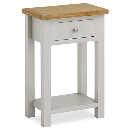 Roseland Furniture Farrow Painted Hall Table/Telephone Table/Painted Stone Grey with Oak Top & Drawer
