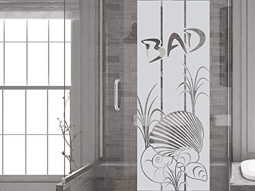 GRAZDesign Fenstertattoo Bad mit Muscheln Gräser, Fensteraufkleber, Glastattoo für Dusche Duschkabine / 131x50cm