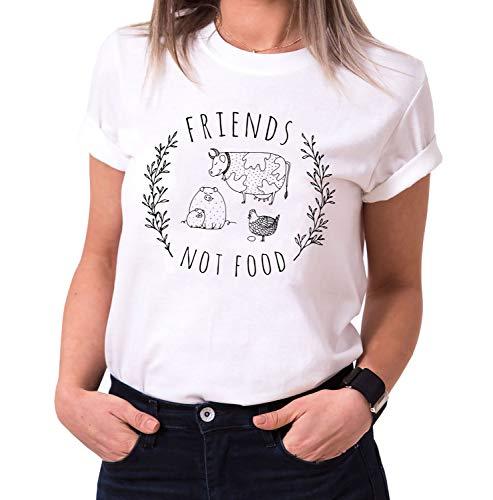 Friends, not Food - Damen T-Shirt Rundhals - Sprüche Shirts - Trendy O-Neck - Spruch - Print - Kurzarm - Hipster - Frauen - Mädchen - Girls, Größe:S, Farbe:Weiß